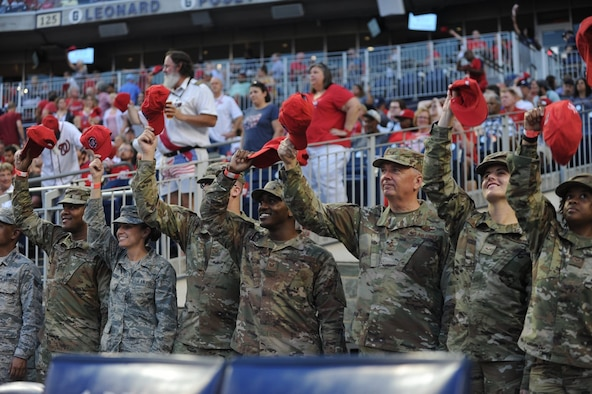 Air Force District of Washington Commander Maj. Gen. Ricky N. Rupp joined his Airmen for the Salute to Service event at Nationals Park Aug. 13. The Airmen enjoyed club house hospitality, premium home plate seating, and a third inning shout out on the NatsHD Scoreboard as they waved their caps in support of the Washington Nationals, who face off against the Cincinnati Reds. Tonight's theme? Grateful Dead!