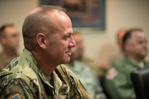 Kentucky's adjutant general,U.S. Army Maj. Gen. Stephen R. Hogan, attends a ceremony at theKentucky Air National Guard base in Louisville, Ky., Aug. 10, 2019,during whichBrig. Gen. Warren Hurst,Kentucky's assistant adjutant general for Air,wasawarded theDistinguished Service Medal. The honor recognizes exceptionally meritorious service in duties of great responsibility.(U.S. Air National Guard photo by Dale Greer)