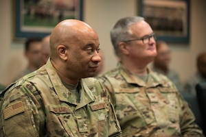 TheKentucky Air National Guard's chief of staff,Brig. Gen. Charles Walker (left)and Col. David Mounkes, commander ofthe 123rd Airlift Wing,attend a ceremony at theKentucky Air National Guard base in Louisville, Ky., Aug. 10, 2019,during whichBrig. Gen. Warren Hurst,Kentucky's assistant adjutant general for Air,wasawarded theDistinguished Service Medal. The honor recognizes exceptionally meritorious service in duties of great responsibility.(U.S. Air National Guard photo by Dale Greer)