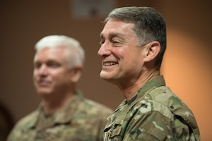 Brig. Gen. Warren Hurst, Kentucky's assistant adjutant general for Air, speaks to membersof the audience during a ceremony at the Kentucky Air National Guard base in Louisville, Ky., Aug. 10, 2019.Lt. Gen. Scott L. Rice, director of the Air National Guard,presented Hurst withthe Distinguished Service Medal during the ceremony, recognizing Hurst'sexceptionally meritorious service in duties of great responsibility.(U.S. Air National Guard photo by Dale Greer)