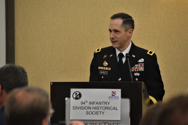 Brig. Gen. Stephen Iacovelli, 94th Training Division-Force Sustainment commanding general, speaks at the 70th anniversary of the 94th Infantry Division Historical Society reunion held at Columbus, Georgia, June 14-15, 2019.