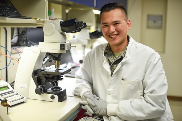 Senior Airman Philip Fisketjon, 341st Medical Group medical laboratory technician, poses for a picture August 13, 2019, at the laboratory on Malmstrom Air Force Base, Mont.
