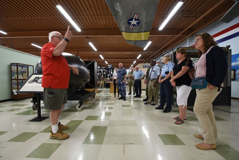 Five Eyes Air Force Interoperability Council representatives tour the Heritage Center at Travis Air Force Base, California, Aug. 9, 2019. The group, which comprises armed forces members from Australia, Canada, New Zealand, the United Kingdom and the United States, meet annually to discuss, learn and test existing and new interoperability strategies. (U.S. Air Force photo by Senior Airman Christian Conrad)