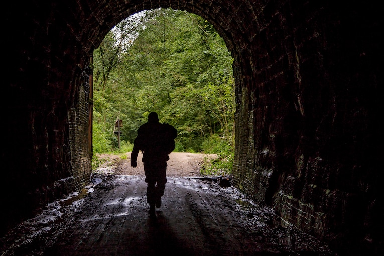 A soldier, shown in silhouette, walks through a dark tunnel, framed by greenery in the background.