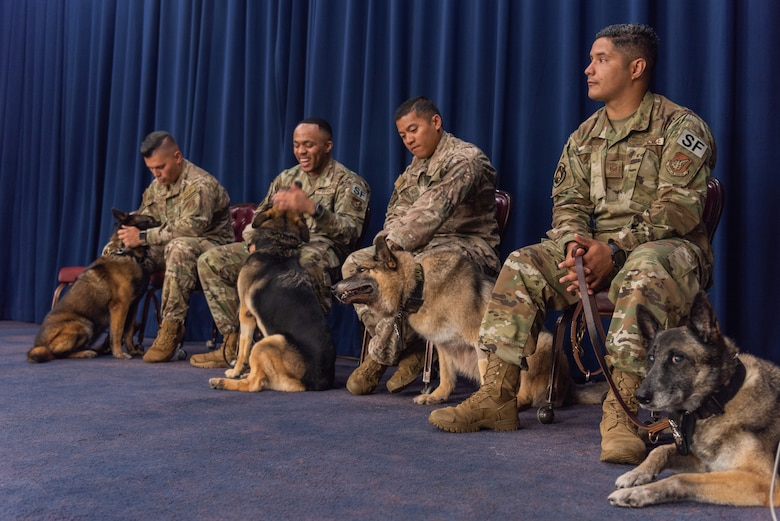 U.S. Air Force military working dog (MWD) handlers assigned to the 18th Security Forces Squadron sit by their MWDs during a MWD retirement ceremony July 26, 2019, on Kadena Air Base, Japan. MWDs and their handlers must have trust and patience with one another to work together as a team and accomplish the mission safely and effectively. (U.S. Air Force photo by Senior Airman Cynthia Belío)