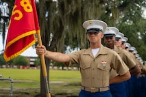 """A native of  New Orleans, Louisiana, graduated from Marine Corps recruit training as a platoon honor graduate of Platoon 2058, Company F, 2nd Recruit Training Battalion, Aug. 16, 2019. Pfc. JC Coker III earned this distinction over 13 weeks of training by outperforming 45 other recruits during a series of training events designed to test recruits' basic Marine Corps skills. These training events covered customs and courtesies, drill and ceremonies, marksmanship, physical fitness, military history, and a variety of other subjects. """"The best part of recruit training was the individual competition and the leadership experience of being the guide for a diverse group of people,"""" said Coker. After enjoying the 10 days of leave allotted to graduates of recruit training, Coker will continue to build foundational Marine Corps skills at the School of Infantry, Camp Geiger, North Carolina."""
