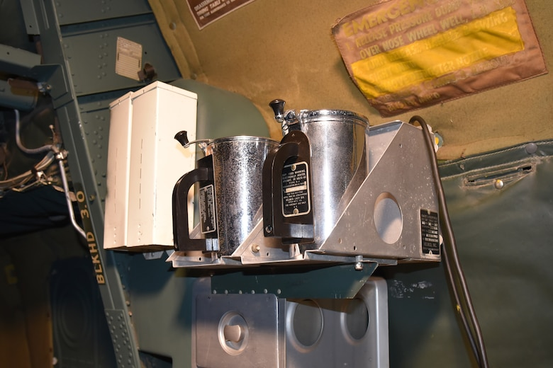 DAYTON, Ohio - Convair B-36J Peacemaker-coffee makers near the Radio Operator's Station at the National Museum of the U.S. Air Force. (U.S. Air Force photo by Ken LaRock)