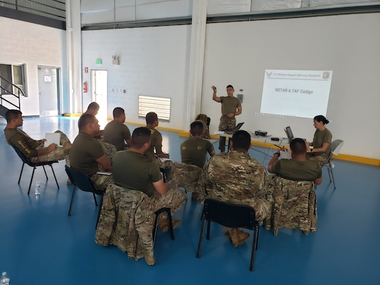 Master Sgt. Charlie Marino-Franco, 571st Mobility Support Advisory Squadron meteorology air advisor, instructs personnel from the National Air and Naval Service, at Nicanor Air Base, Panama. Capability focus areas for this mission included airfield management, supply management, aircraft maintenance, fuels operations, weather and airfield radar systems. (Courtesy Photo)
