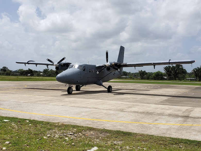 A DHC-6 Twin Otter aircraft sits on the flightline at Nicanor Air Base, Panama. In July 2019, 11 air advisors from the 571st Mobility Support Advisory Squadron were part of a mobile training team with personnel from the National Air and Naval Service in Panama. (Courtesy Photo)