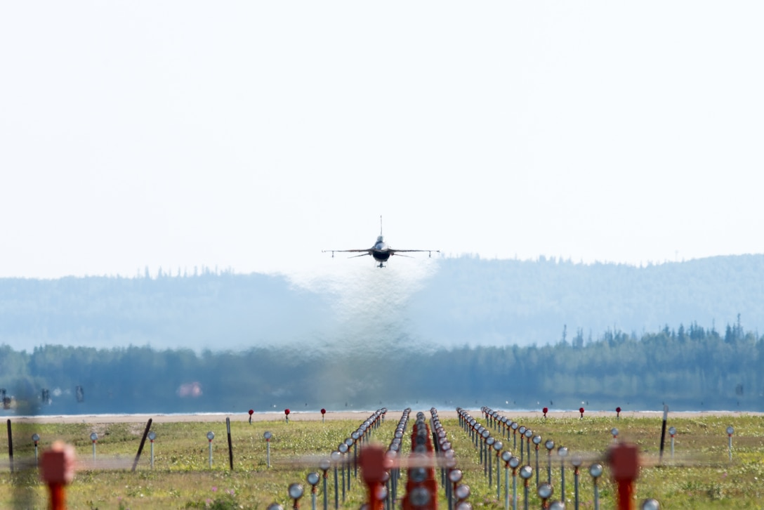 An F-16 Fighting Falcon takes off during Red Flag-Alaska