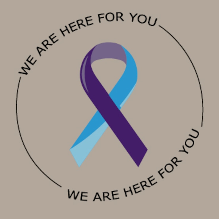 The we are here for you graphic was created in conjunction with the 'Five minutes could save a life' article, to raise awareness for suicide prevention Aug. 16, 2019, on F.E. Warren Air Force Base Wyo. The Air Force has had an increased number of suicides in 2019 and every base is working with senior leadership to let Airmen know we are here to help. (U.S. Air Force graphic by Senior Airman Abbigayle Williams)