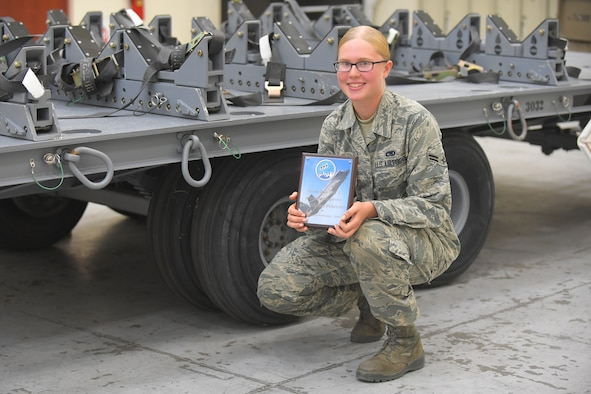 Airman 1st Class Allison Petersen, 388th Maintenance Squadron munitions support equipment maintenance technician, was awarded the coveted Top 3 Superior Performer award Aug. 9. The monthly award recognizes the hard work of Team Hill's Airmen on and off duty. (U.S. Air Force photo by Todd Cromar)