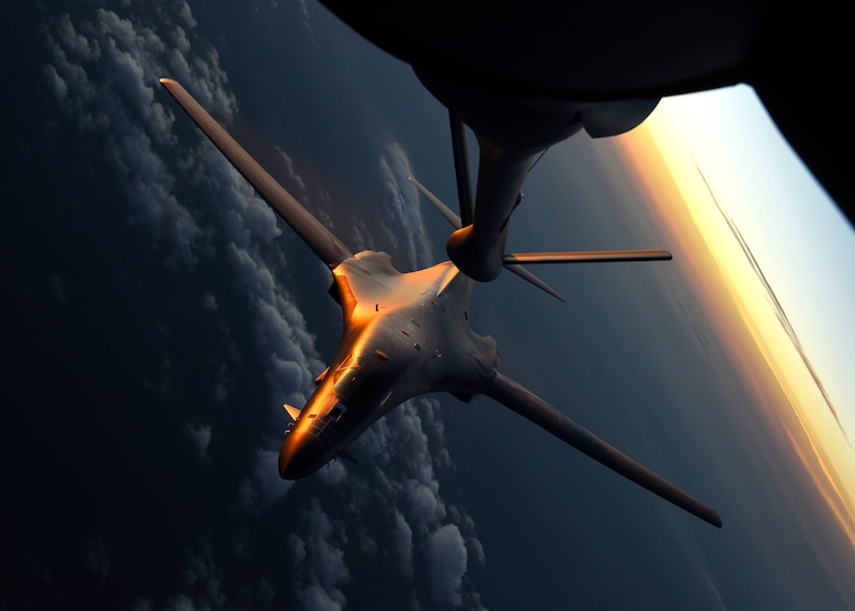 A U.S. Air Force 7th Bomb Wing B-1B Lancer performs air refueling training with a 92nd Air Refueling Wing KC-135 Stratotanker at Dyess Air Force Base, Texas, Aug. 13, 2019.