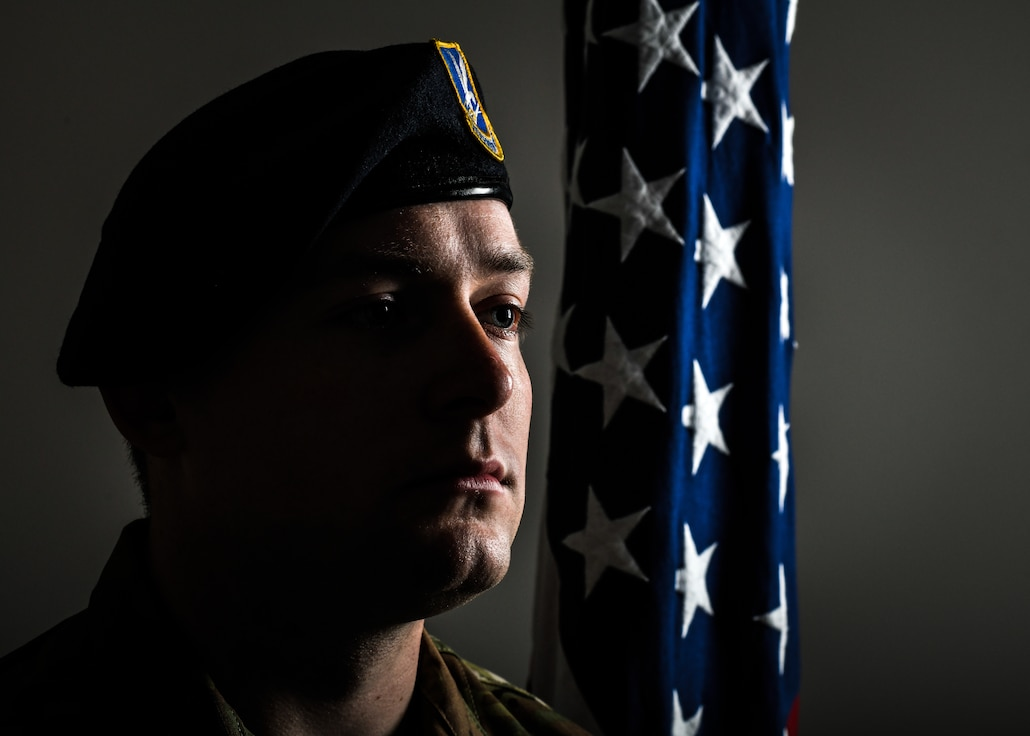 Tech. Sgt. Brandon Campbell, a former fireteam member with the 910th Security Forces Squadron, poses for a photo on May 23, 2019, at Youngstown Air Reserve Station.