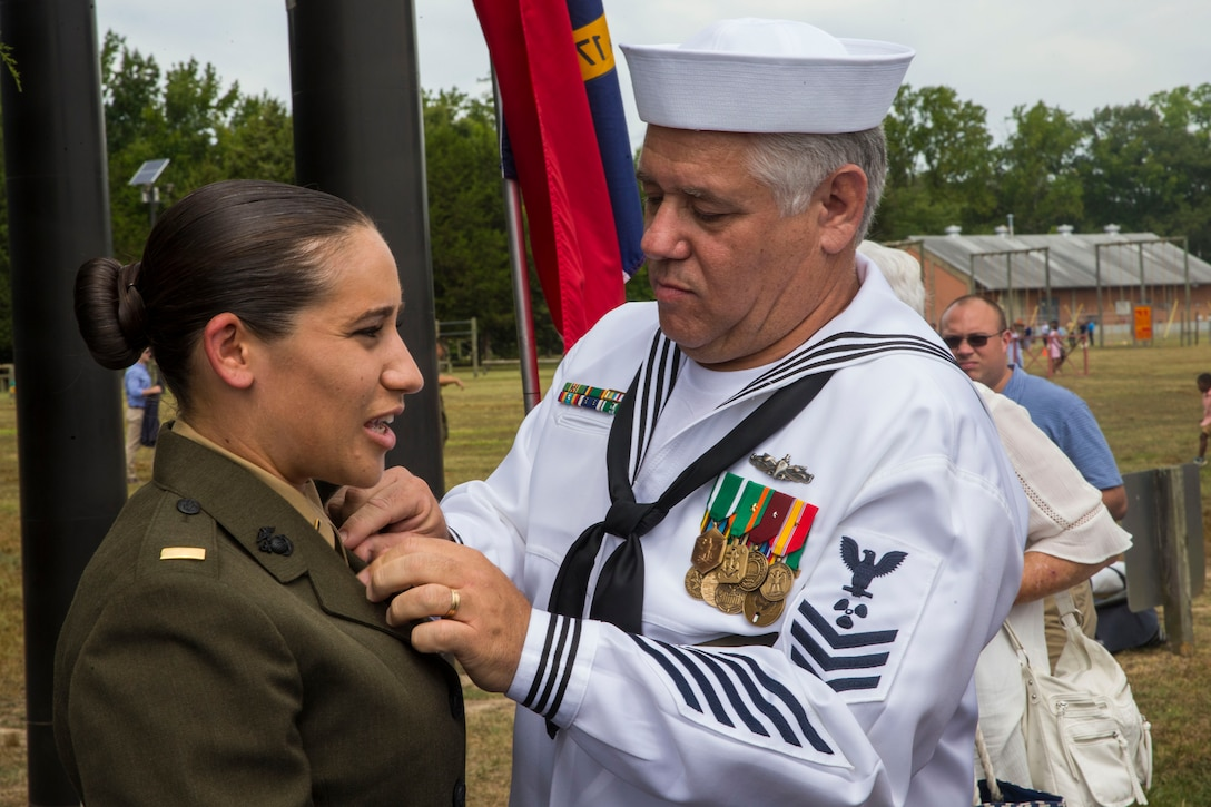 Amanda Sanders, a teacher with Winding Springs Elementary, graduated Marine Corps Officer Candidate School Aug. 10, 2019 and commissioned as a second lieutenant the same day. Sanders, a Charlotte, North Carolina native, plans on serving in the Marine Corps Reserves so she may continue teaching and server her country.
