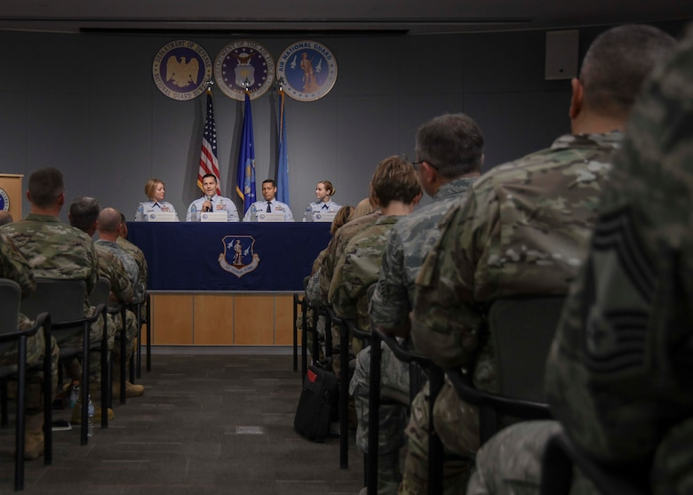 U.S. Airmen representing the four Air National Guard 2019 Outstanding Airmen of the Year participate in a panel discussion at Joint Base Andrews, Md., Aug. 16, 2019. The panel was one event held during the 2019 Focus on the Force Week and was hosted by the Enlisted Field Advisory Council and a class of newly promoted Air National Guard chief master sergeants. (Air National Guard photo by Staff Sgt. Morgan R. Lipinski)