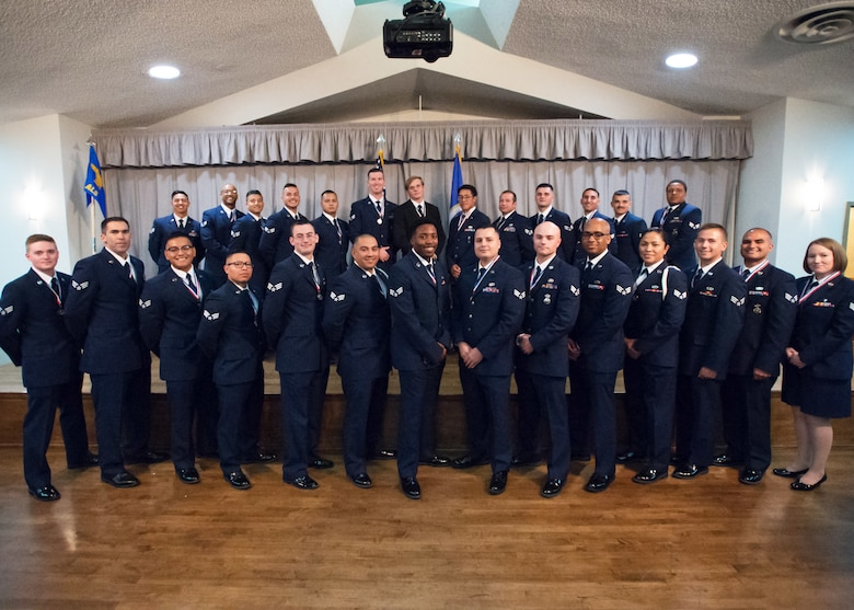 Airman Leadership School Class 19F graduates at Edwards Air Force Base, California Aug. 15. (U.S. Air Force photo by Jordan Goodsell)