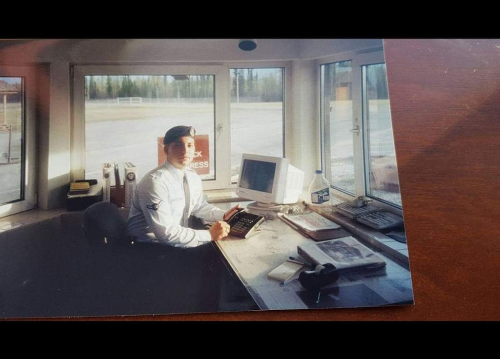 U.S. Air Force Chief Master Sgt. Steve Cenov, 8th Fighter Wing Command chief, stands guard at an installation entry control point at Eielson Air Force Base in June 2000. (Courtesy photo)