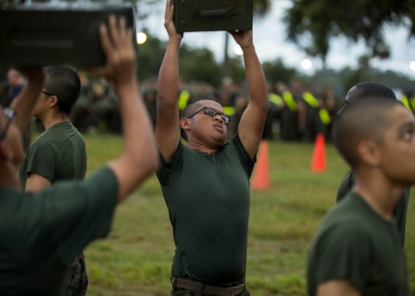 Alberto G. Velazquez, a recruit with Platoon 3074, Company M, 3rd Recruit Training Battalion, Recruit Training Regiment, conducts the Combat Fitness Test aboard Marine Corps Recruit Depot Parris Island, South Carolina on 16 August, 2019. Velazquez was recruited by Gunnery Sgt. Chadwell Cameron, a recruiter with Recruiting Substation Lake Worth. Velazquez is currently on track to graduate recruit training at MCRD Parris Island on October 11, 2019. (U.S. Marine Corps photo by Cpl. Jack A. E. Rigsby)