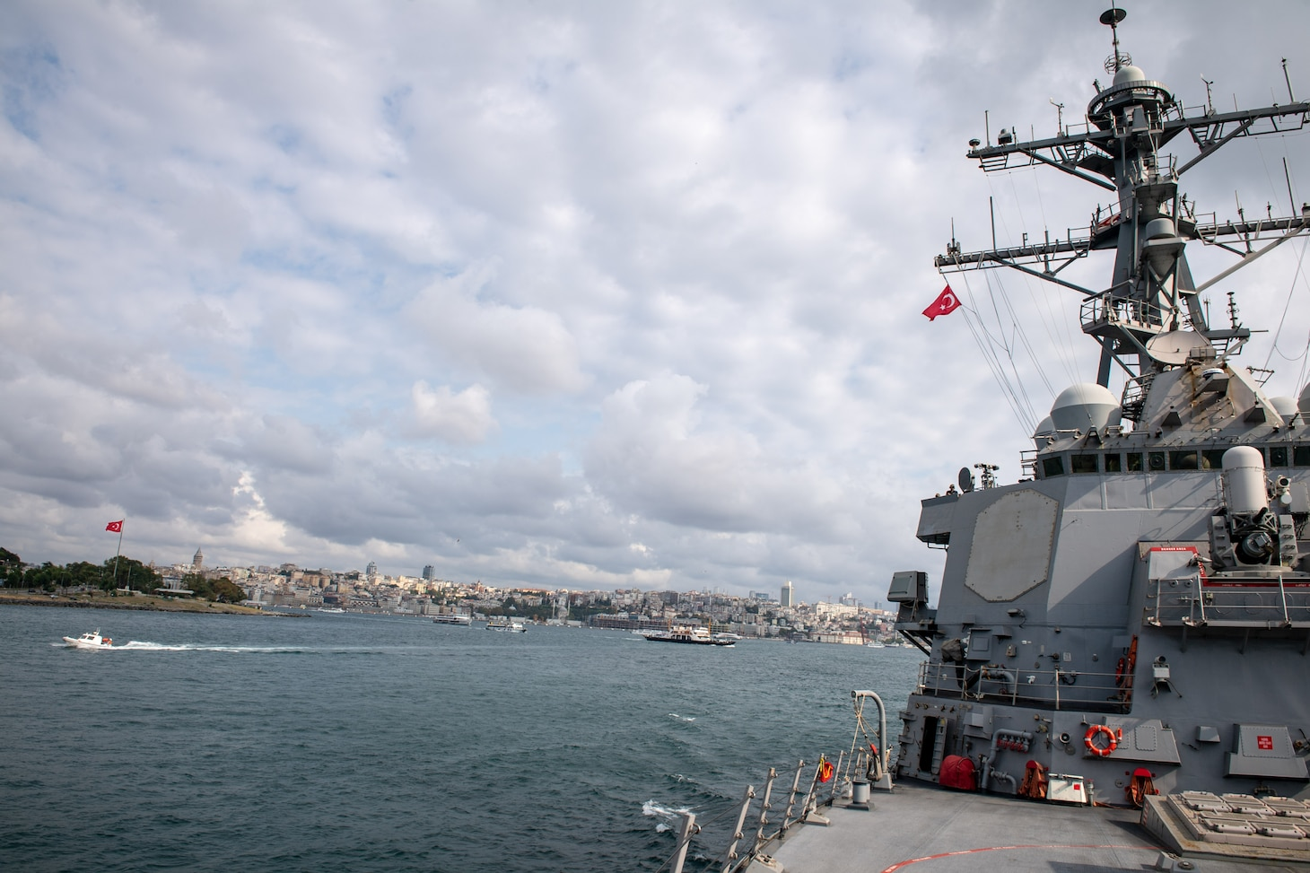 The Arleigh Burke-class guided-missile destroyer USS Porter (DDG 78) makes way to Golcuk, Turkey, for a scheduled port visit, Aug. 16, 2019.