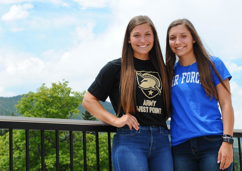 Emma, left, and Aubrie Kuhrt tour the U.S. Air Force Academy prior to the Class of 2023 In-processing Day, June 26, 2019. Each of the twins chose a separate military academy in line with their interests and military service goals.
