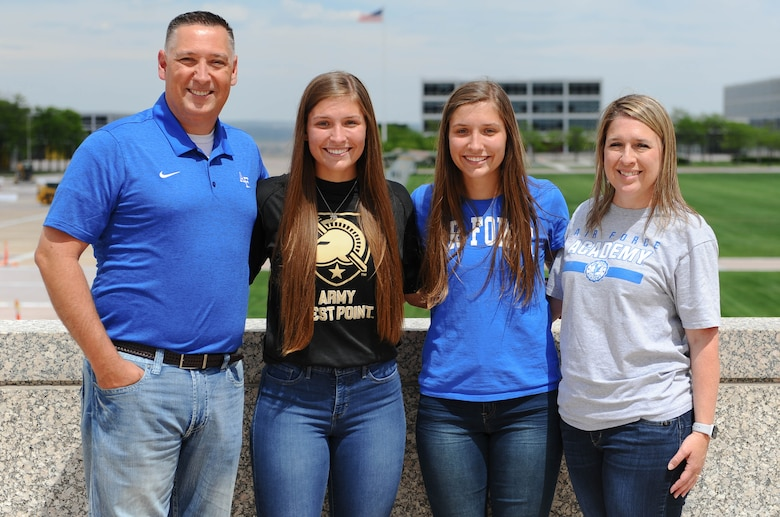 Emma, left, and Aubrie Kuhrt tour the U.S. Air Force Academy with their parents prior to the Class of 2023 In-processing Day, June 26, 2019. Each of the twins chose a separate military academy in line with their interests and military service goals.