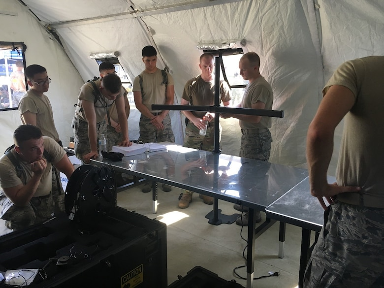 Operation Excellent Fury in Savannah, GA, allows members of the 752nd Operations Support Squadron to learn the role of maintainers in a deployed setting, July 2019. This exercise focused on the Control and Report Center weapon system to include its radar, radio, and battle management equipment.  (U.S. Air Force courtesy photo).