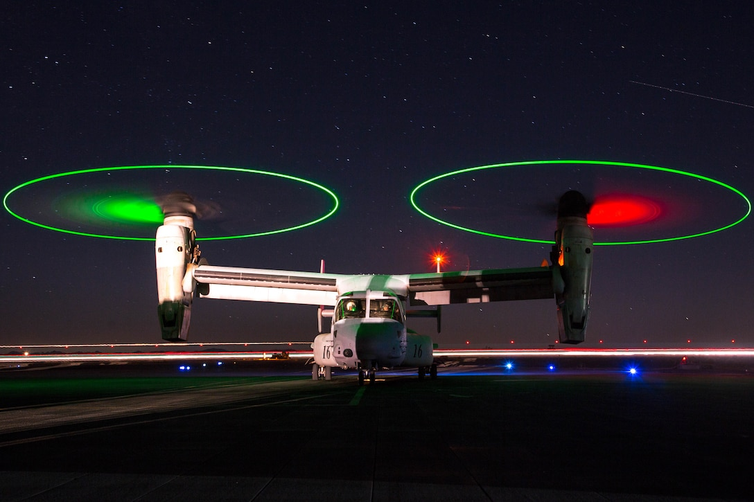 A U.S. Marine Corps MV-22B Osprey with Marine Medium Tiltrotor Squadron 263, prepares for a night flight during Integrated Training Exercise 5-19 at Marine Corps Air Ground Combat Center, Twentynine Palms, California, August 16, 2019. ITX 5-19 is a large-scale, combined-arms training exercise that produces combat-ready forces capable of operating as an integrated Marine Air-Ground Task Force.
