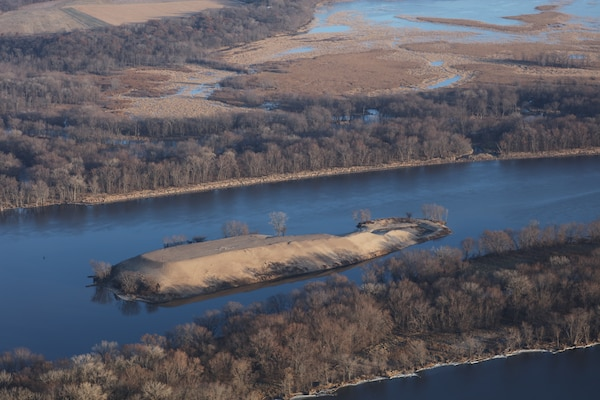 A dredged material island in the Mississippi River.