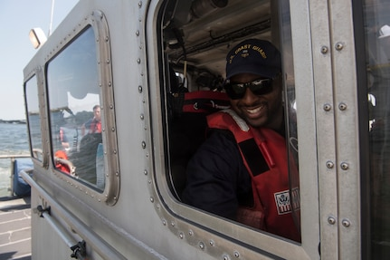 U.S. Coast Guard Petty Officer 2nd Class Alexander Ford, a boatswain's mate assigned to USCG Station Charleston, helms a patrol vessel in support of Operation SHRIMP and GRITS in Charleston Harbor, August 9, 2019. Operation SHRIMP and GRITS is an annual multi-jurisdiction and multi-state maritime  law enforcement operation that promotes safety to recreational and commercial boaters traveling along the water across South Carolina, North Carolina, Georgia and Florida. Approximately 104 different agencies in the four states participated in the operation with the U.S. Coast Guard, covering about 500 miles of coastline.