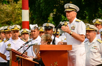 A military person gives a speech.