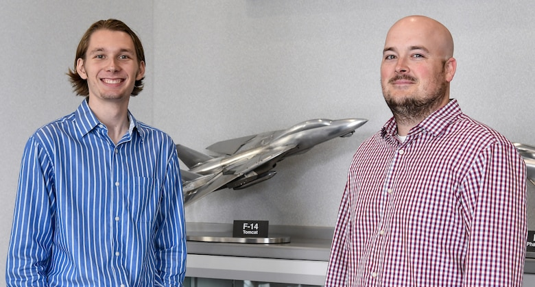 Luke Neise, left, and Bryon Harrington, participate in the Air Force Premier College Intern Program with AEDC this summer at Arnold Air Force Base. (U.S. Air Force photo by Jill Pickett)