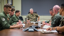 U.S. Marine Corps Col. Andrew T. Priddy, the commanding officer of the 13th Marine Expeditionary Unit, I Marine Expeditionary Force, meets with leadership from Marine Medium Tilt-Rotor Squadron-166 at Camp Pendleton, Calif. August 16, 2019.