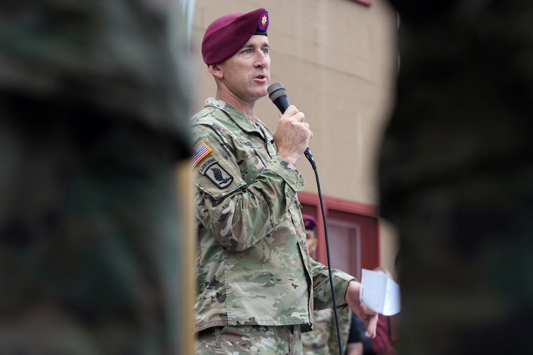 Army Lt. Col. Matt Myer speaks to his paratroopers assigned to the 1st Battalion, 501st Parachute Infantry Regiment, 4th Infantry Brigade Combat Team (Airborne), 25th Infantry Division, U.S. Army Alaska, veterans of the unit, dependents, and honored guests during 'Geronimo Week' festivities on Joint Base Elmendorf-Richardson, Alaska, Aug. 14, 2019, celebrating the unit's lineage. The regiment was activated on Nov. 15, 1942, at Camp Toccoa, Ga., served with distinction in World War II, the Cold War, Vietnam, as well as the Global War on Terror and continues to uphold the high standards expected of an airborne unit in peacetime duties and on the field of battle.