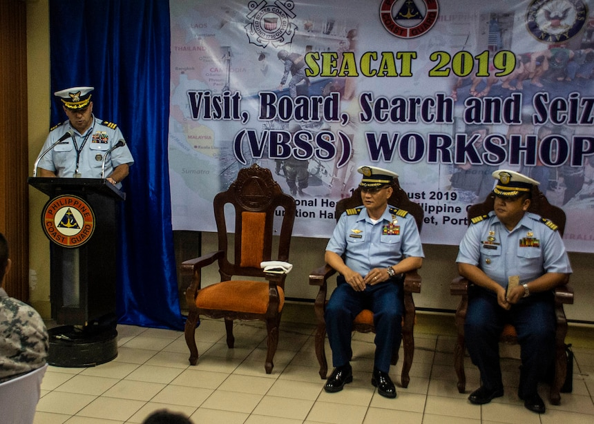 MANILA, Philippines (Aug. 19, 2019). U.S. Coast Guard Cmdr. David Negron-Alicea, Defense Threat Reduction Agency maritime advisor for U.S. Embassy Manila, delivers keynote remarks during the visit, board, search and seizure workshop as part of Southeast Asia Cooperation and Training (SEACAT) 2019 at the Philippine Coast Guard Headquarters in Manila. This year marks the 18th iteration of SEACAT, which is designed to enhance maritime security skills by highlighting the value of information sharing and multilateral coordination.