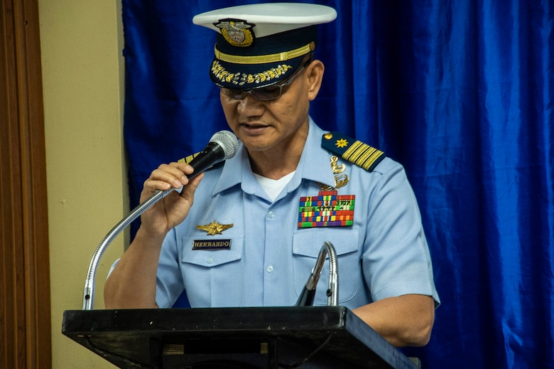 MANILA, Philippines (Aug. 19, 2019). Philippine Coast Guard Capt. Edgardo T. Hernando, commander, Coast Guard Special Operation Force, delivers keynote remarks during the visit, board, search and seizure workshop as part of Southeast Asia Cooperation and Training (SEACAT) 2019 at the Philippine Coast Guard Headquarters in Manila. This year marks the 18th iteration of SEACAT, which is designed to enhance maritime security skills by highlighting the value of information sharing and multilateral coordination.