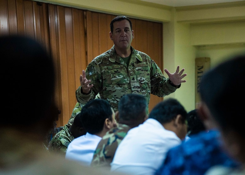 MANILA, Philippines (Aug. 19, 2019) U.S. Coast Guard Chief Maritime Enforcement Specialist Eric Skaife, assigned to Tactical Law Enforcement Team Pacific, briefs international laws and use of force to Indo-Pacific partners during Southeast Asia Cooperation and Training (SEACAT) 2019 at the Philippine Coast Guard Headquarters in Manila. This year marks the 18th iteration of SEACAT, which is designed to enhance maritime security skills by highlighting the value of information sharing and multilateral coordination.