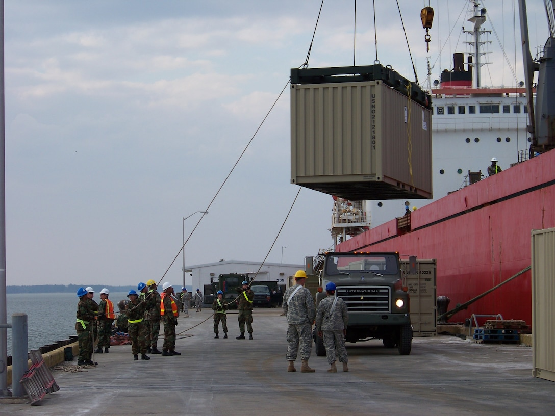Subsistence items and other supplies are loaded in containers aboard a Military Sealift Command-chartered cargo ship in Norfolk, Va. in preparation for the Pacer Goose Sustainment July 6, 2012. Pacer Goose, the annual summer resupply mission to Thule Air Force Base in Pituffik, Greenland, provides a main supply line for the area located halfway between the North Pole and the Arctic Circle. (U.S. Navy photo by Brian Hill/Released)