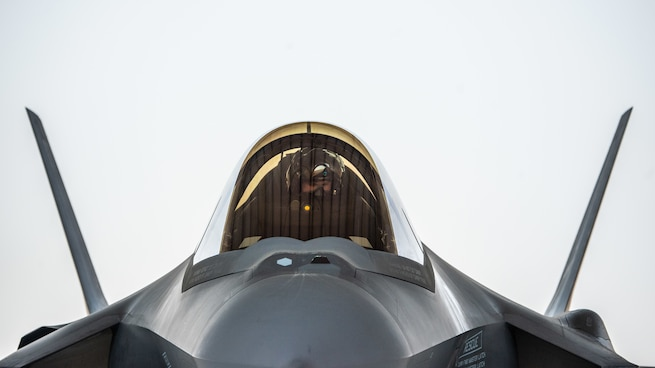 A U.S. F-35A Lightning II pilot from the 4th Expeditionary Fighter Squadron, Al Dhafra Air Base, United Arab Emirates, prepares to taxi during Exercise Agile Lightning Aug. 5, 2019. Agile Lightning is an exercise in adaptive basing methodology where personnel and aircraft can forward deploy any place in the world to complete essential missions vital to the defense of U.S. assets and personnel.  (U.S. Air Force photo by Staff Sgt. Chris Thornbury)