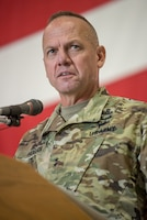 U.S. Army Maj. Gen. Stephen Hogan, Kentucky's adjutant general, speaks at a transfer-of-responsibility ceremony at the Kentucky Air National Guard Base in Louisville, Ky., Aug. 11, 2019. Brig. Gen. Jeffrey Wilkinson assumed command of the Kentucky Air National Guard at the ceremony, replacing Brig. Gen. Warren Hurst, who is stepping down as assistant adjutant general for Air. (U.S. Air National Guard photo by Staff Sgt. Joshua Horton)