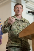 Brig. Gen. Jeffrey Wilkinson, Kentucky's new assistant adjutant general for Air, speaks at a transfer-of-responsibility ceremony at the Kentucky Air National Guard Base in Louisville, Ky., Aug. 11, 2019. Wilkinson replaces Brig. Gen. Warren Hurst, who held the post for six years. (U.S. Air National Guard photo by Staff Sgt. Joshua Horton)