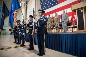 The 123rd Airlift Wing Honor Guard presents the colors during a transfer-of-responsibility ceremony at the Kentucky Air National Guard Base in Louisville, Ky., Aug. 11, 2019. Brig. Gen. Jeffrey Wilkinson assumed command of the Kentucky Air National Guard at the ceremony, replacing Brig. Gen. Warren Hurst, who is stepping down as assistant adjutant general for Air. (U.S. Air National Guard photo by Staff Sgt. Joshua Horton)