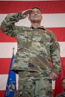 Brig. Gen. Warren Hurst renders his final salute as Kentucky's assistant adjutant general for Air during a transfer-of-responsibility ceremony at the Kentucky Air National Guard Base in Louisville, Ky., Aug. 11, 2019. Taking his place is Brig. Gen. Jeffrey Wilkinson, who most recently served as vice commander of the 123rd Airlift Wing. (U.S. Air National Guard photo by Staff Sgt. Joshua Horton)