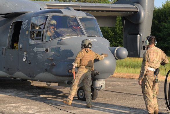 The CV-22B Osprey, assigned to the 352 SOW, is a tiltrotor aircraft that combines the vertical take-off, hover and vertical landing qualities of a helicopter with the long-range, fuel efficiency and speed characteristics of a turboprop aircraft. Its mission is to conduct long-range infiltration, exfiltration and resupply missions for special operations. (U.S. Army photo by Staff Sgt. Elizabeth)