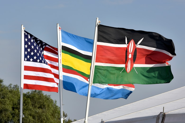 Flags from the U.S., African community, and Kenya are posted for the African Partnership Flight Kenya 2019 at Laikipia Air Base, Kenya, August 20, 2019.