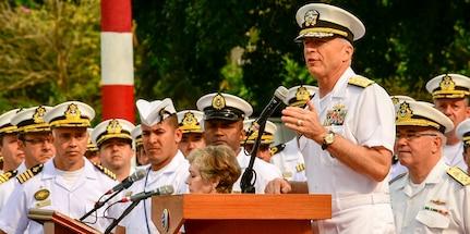 U.S. Navy Admiral Craig Faller, commander, U.S. Southern Command, speaks to UNITAS LX participants.