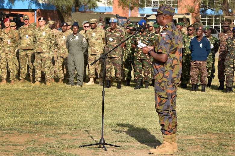 Maj. Gen. Francis C. Ogolla, commander of the Kenya air force, provides opening remarks to start the African Partnership Flight Kenya event at Laikipia Air Base, Kenya, August 20, 2019.