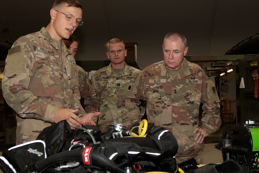 Maj. Gen. Gordon L. Ellis, far right, 38th Infantry Division commanding general, listens to Spc. Kyle Ferguson, a 511th Engineer Dive Detachment diver explain his equipment at Kuwait Naval Base, Tuesday, Aug. 13, 2019. The detachment supports theater-level sustainment and mobility requirements throughout U.S. Army Central in ports, harbors, inland waterways, and littoral zones.