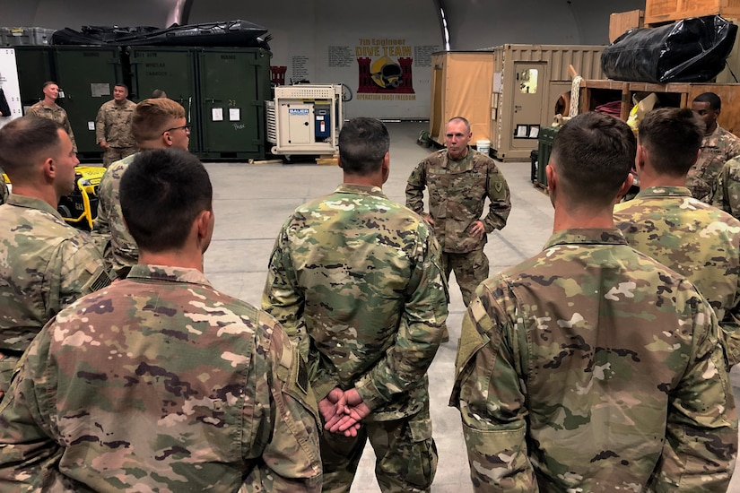 Maj. Gen. Gordon L. Ellis, talks with 511th Engineer Dive Detachment soldiers during a visit to Kuwait Naval Base, Tuesday, Aug. 13, 2019. The detachment conducts combat, general and geospatial engineer dive operations throughout U.S. Army Central.