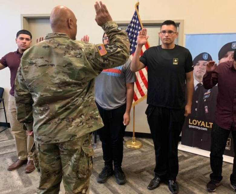 Las Vegas teen took the Oath of Enlistment after he lost 113 pounds in seven months in order to pass the Army's weight requirements.